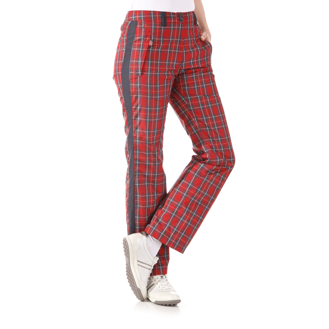 Checked micro thermo trousers