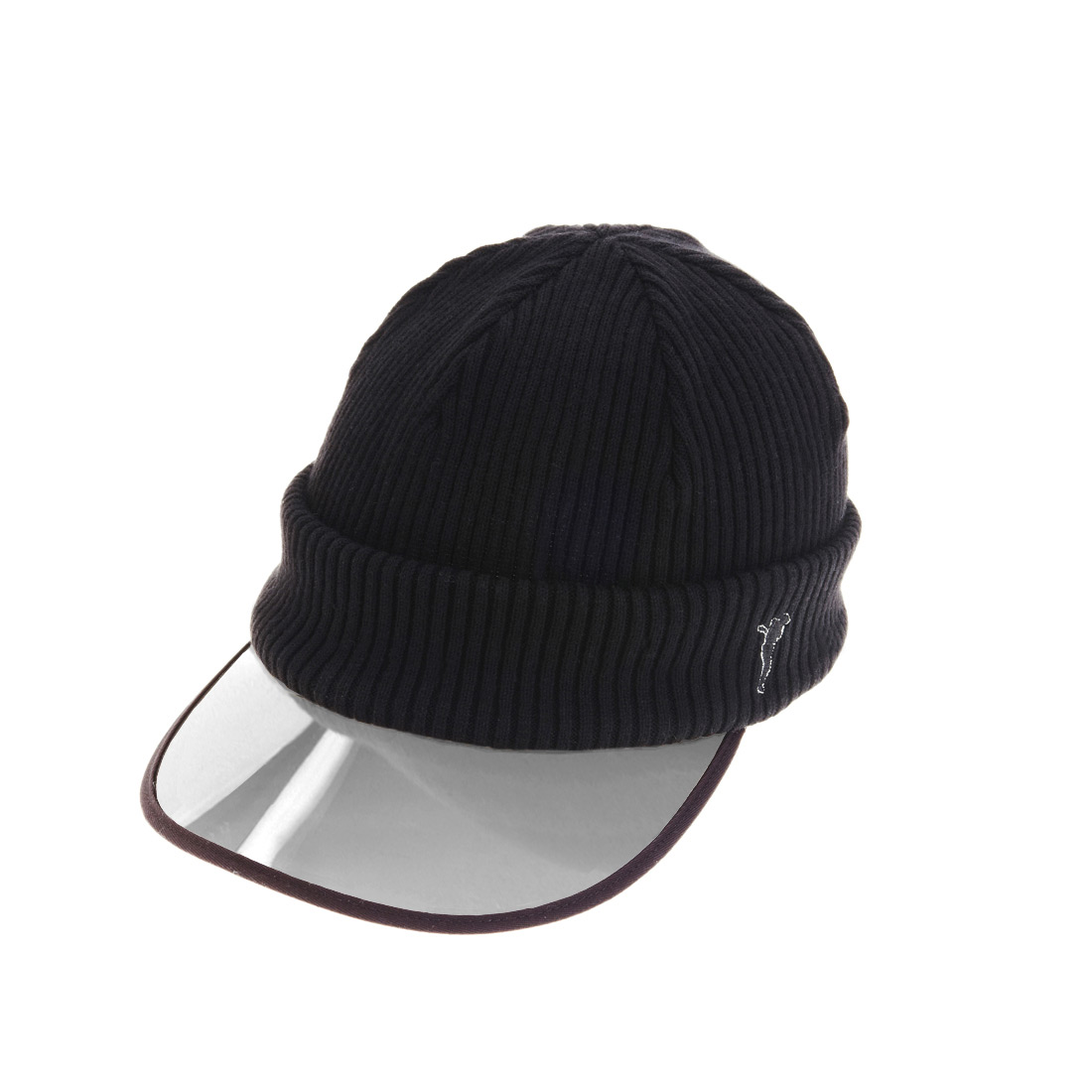 Knit cap with transparent peak