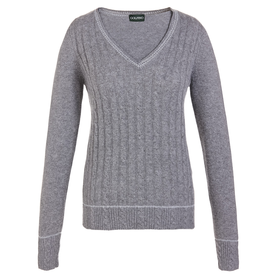Ladies' V-neck golf sweater with cable pattern in fine wool blend