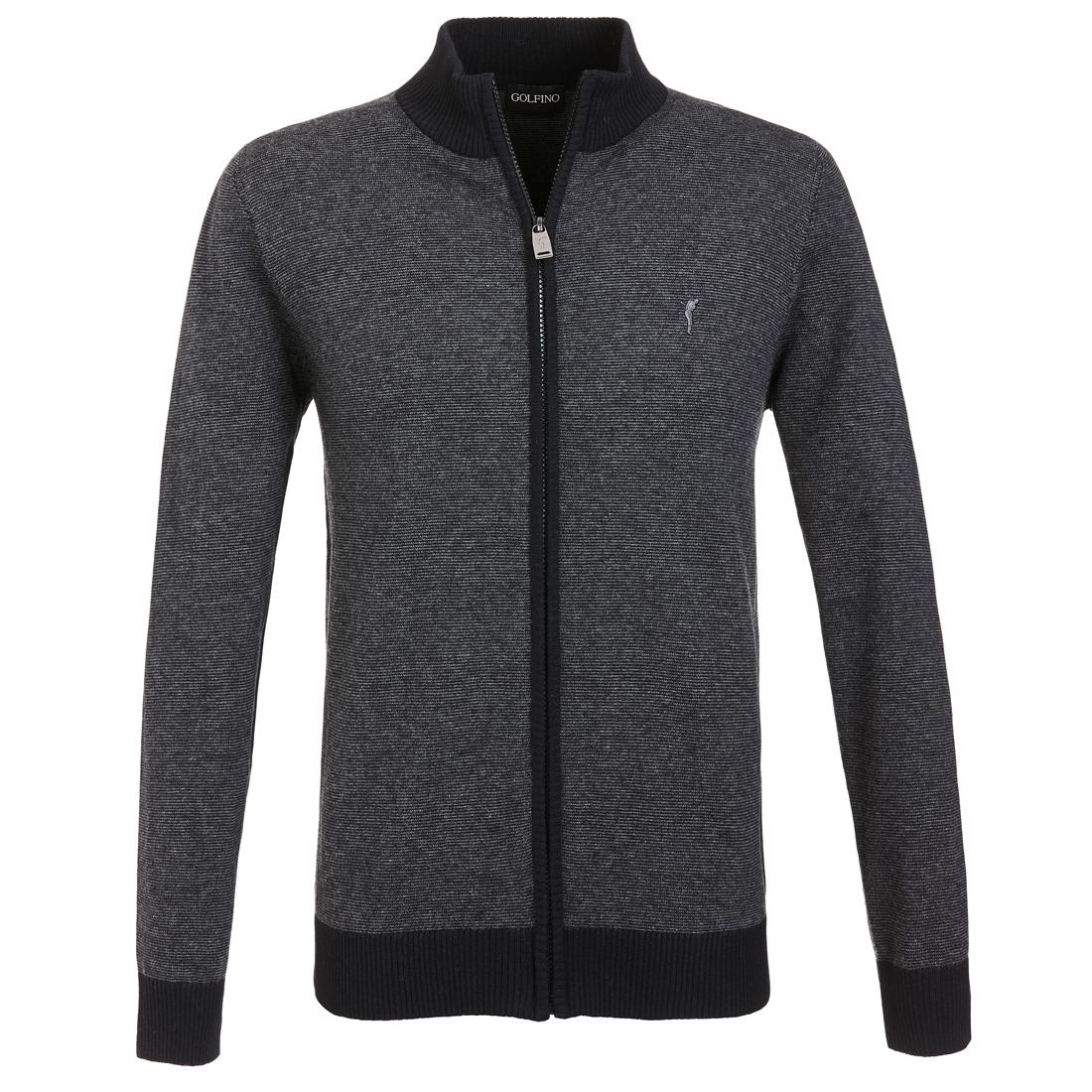 Herren Golfjacke aus feiner Merino Wolle mit modischem Streifenmuster