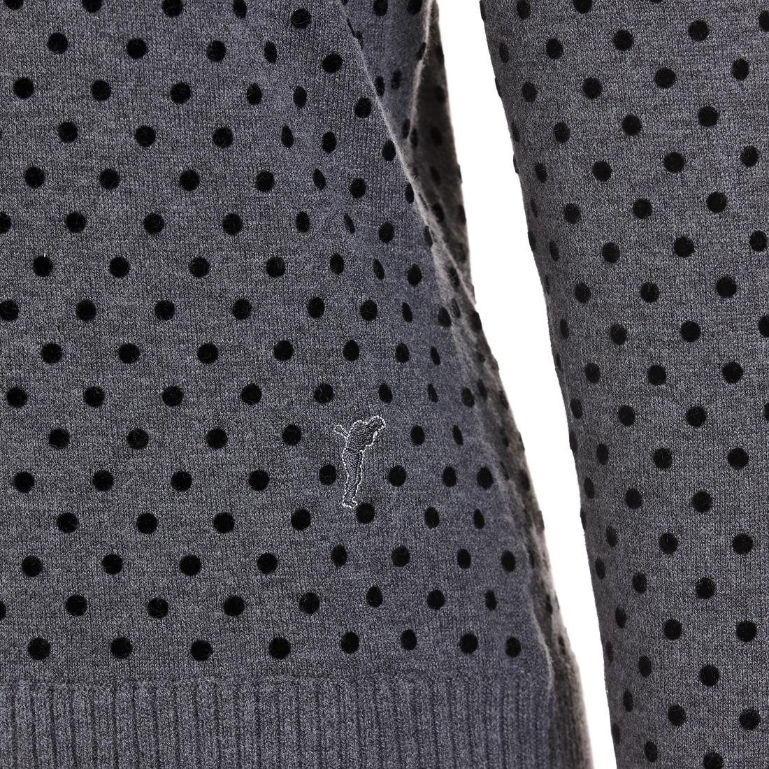 Damen Rollkragenpullover mit beflockten Punkten aus weichem Merino-Mix