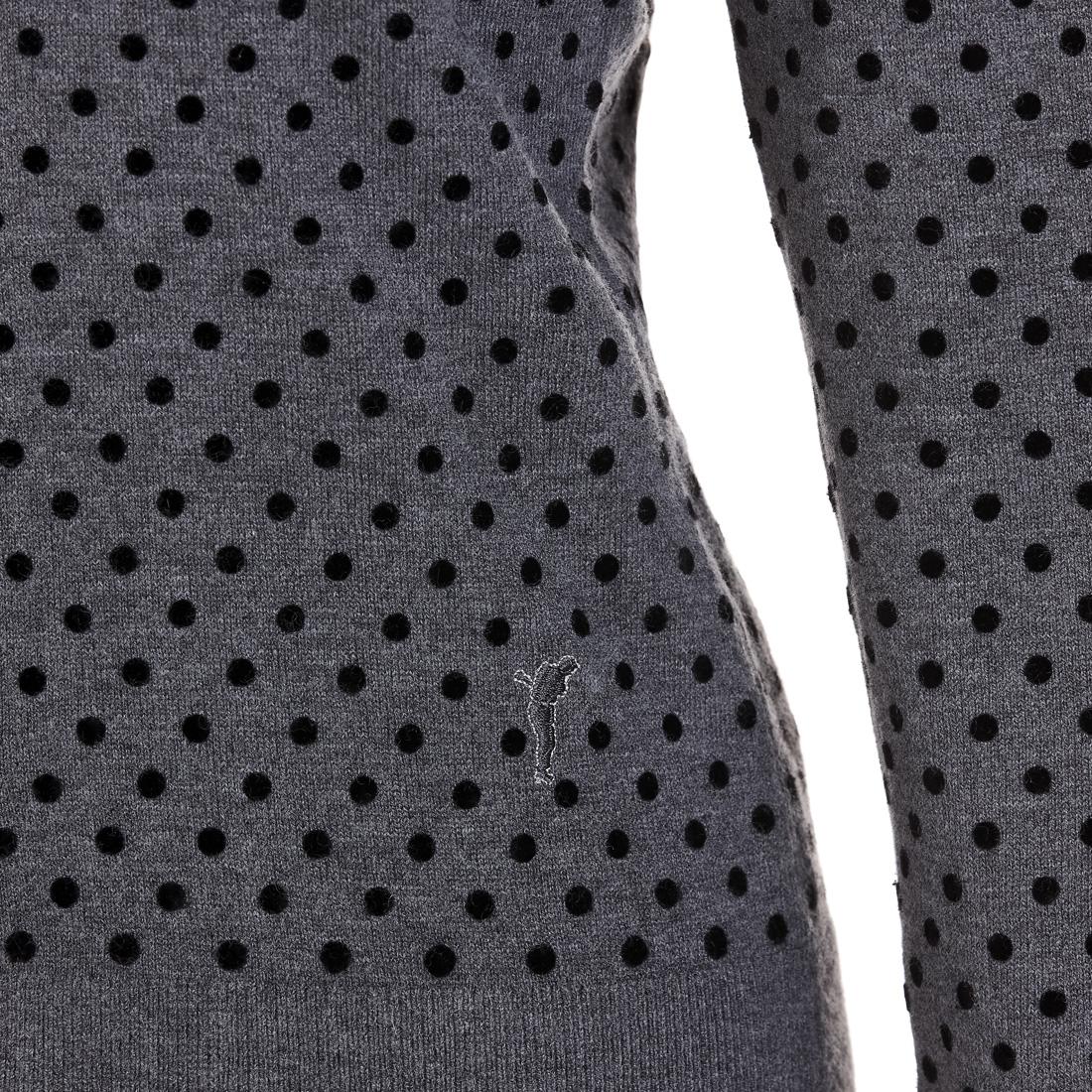 Damen Strickjacke mit beflockten Punkten aus weichem Merino-Mix
