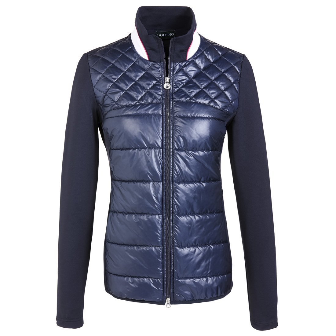 Ladies' quilted golf jacket with light stretch sleeves