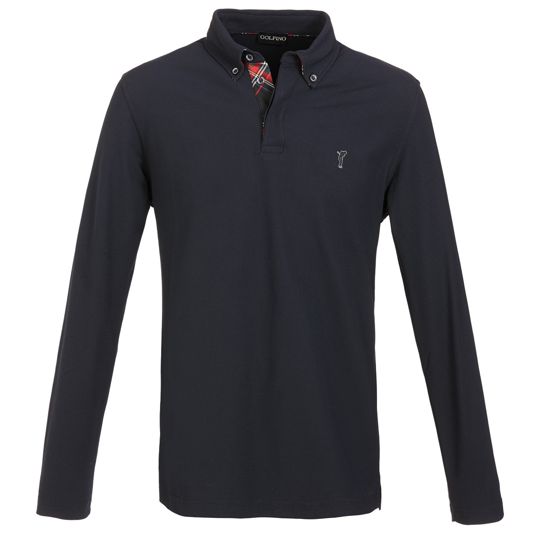 Langarm Funktions-Golf-Piqué mit Moisture Management und Button-Down-Kragen