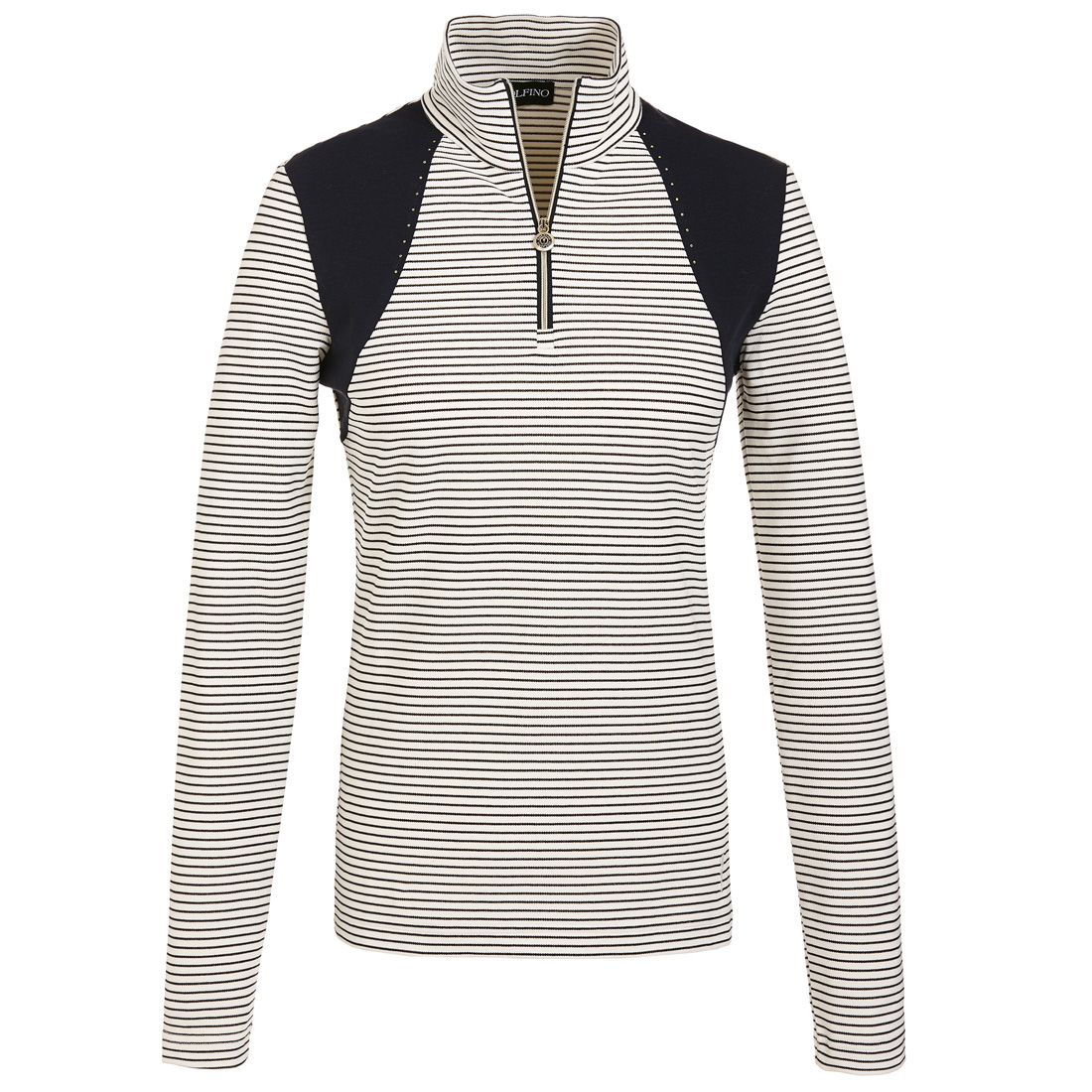 Dry comfort ladies' golf underlayer with fashionable stripes and rhinestone trim