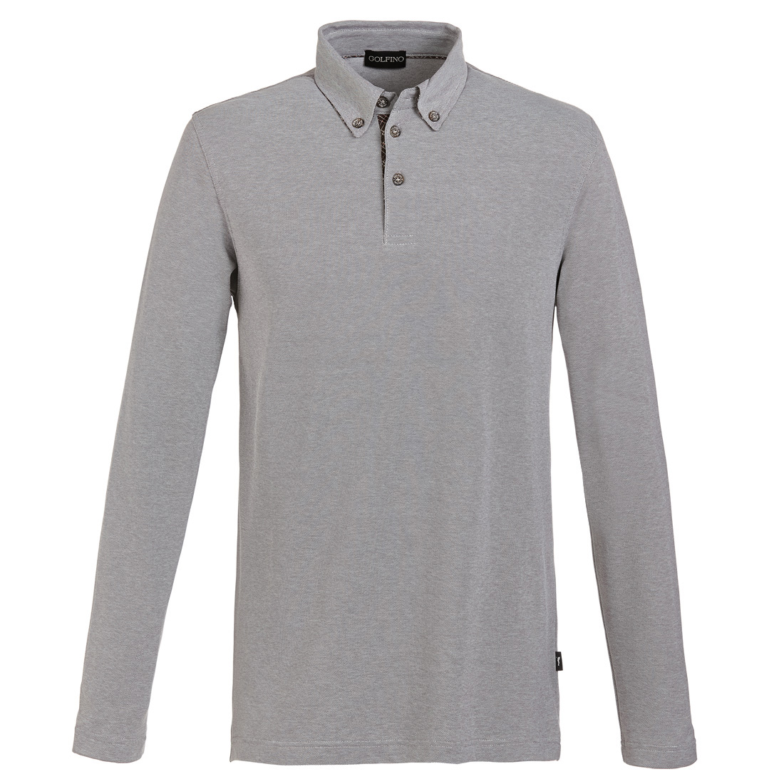 Men's long sleeve golf polo with button-down collar and sun protection