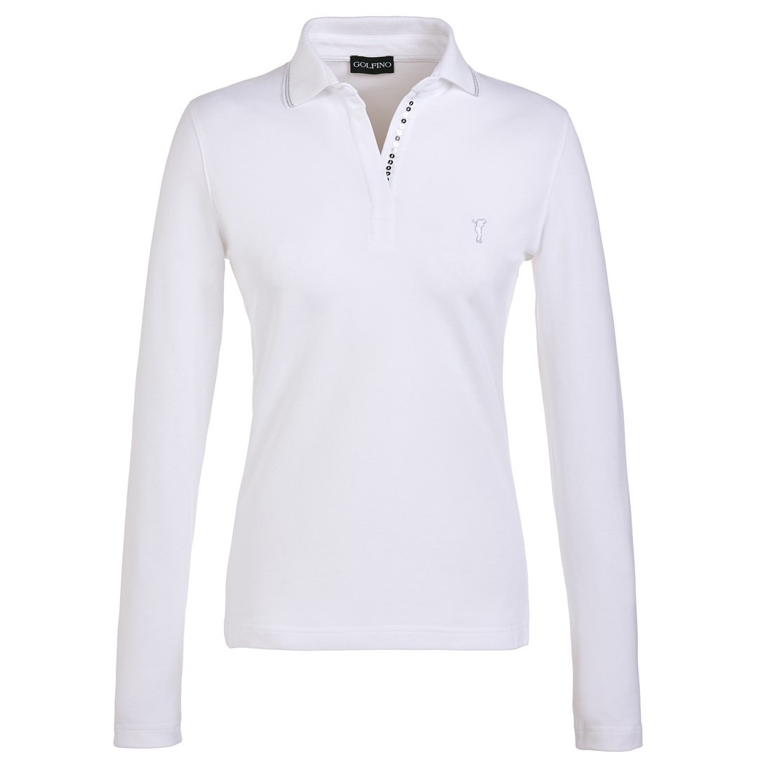 Ladies' long sleeve sun protection golf polo with sequins