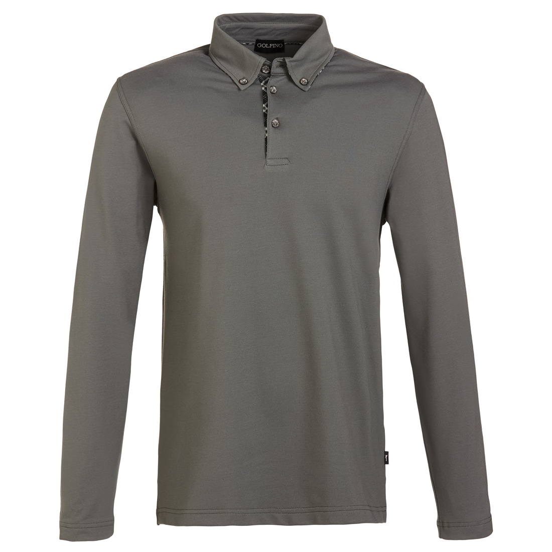 Herren Langarm Funktionsgolfpolo mit Sun Protection und Button-Down-Kragen