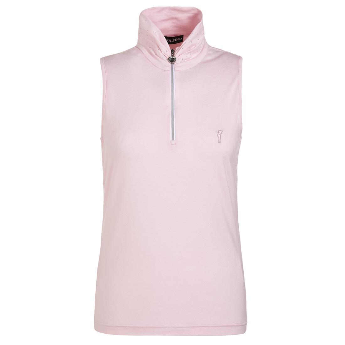 Ärmelloser Damen Golfunterzieher Dry Comfort mit Strassbesatz am Schalkragen