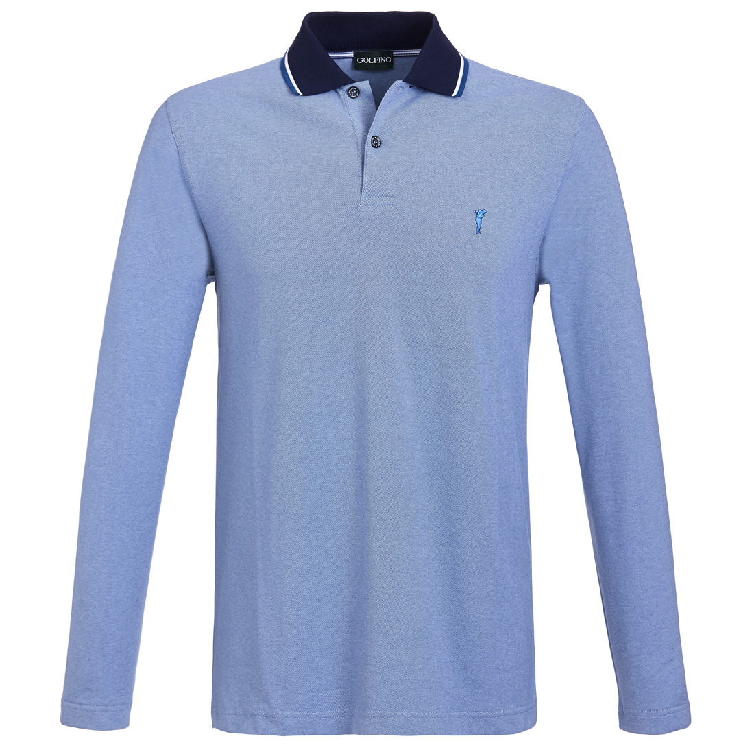 Langarm Herren Funktions-Golfpolo Brushed mit Sun Protection