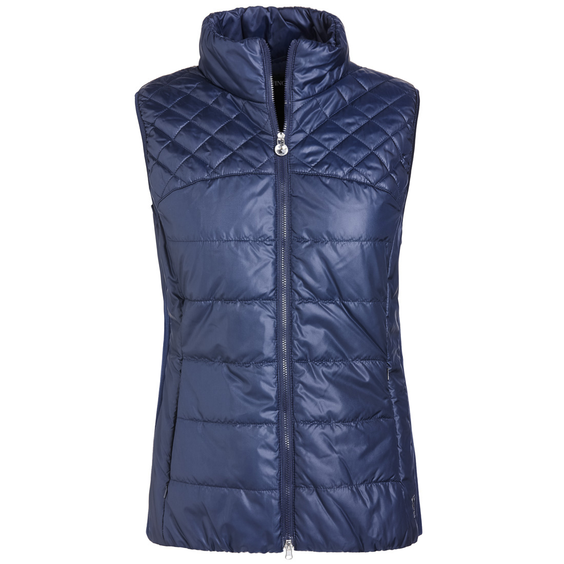 Wind protection ladies' quilted waistcoat with side stretch elements