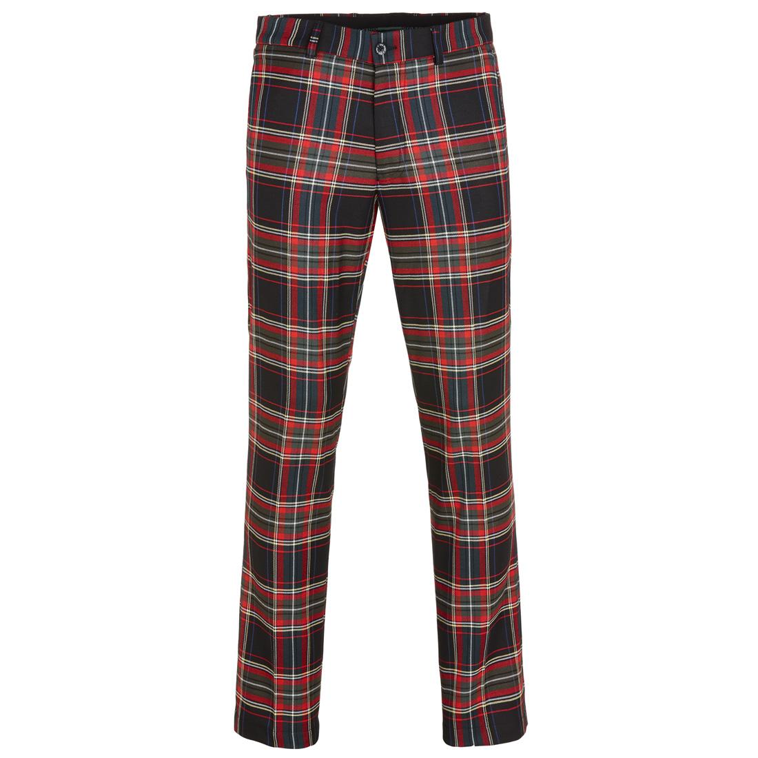 Herren Premium Funktions-Golfhose mit klassischem Karomuster in Slim Fit
