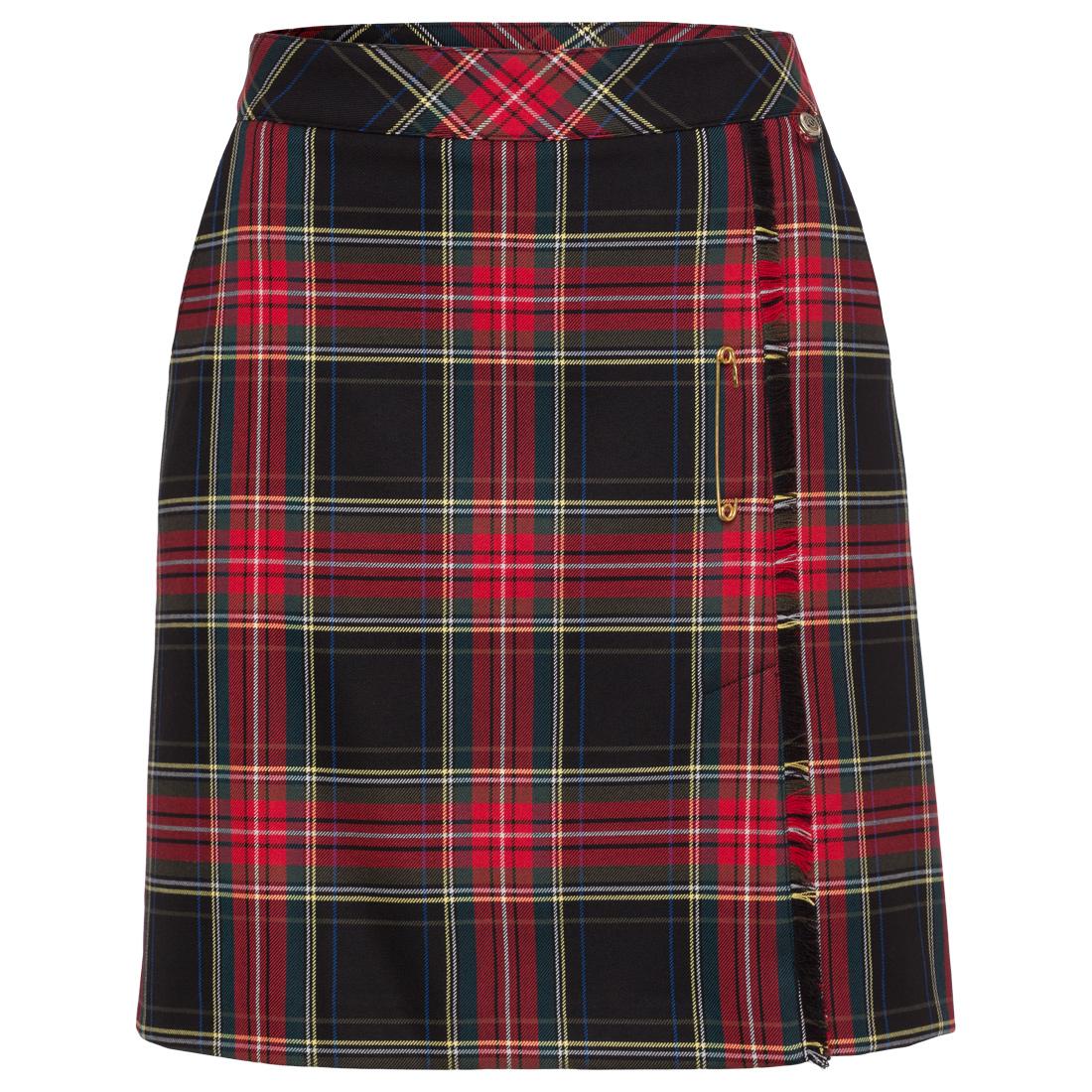 Damen Stretch-Golfrock mit modischem Schottenmuster und langer Passform