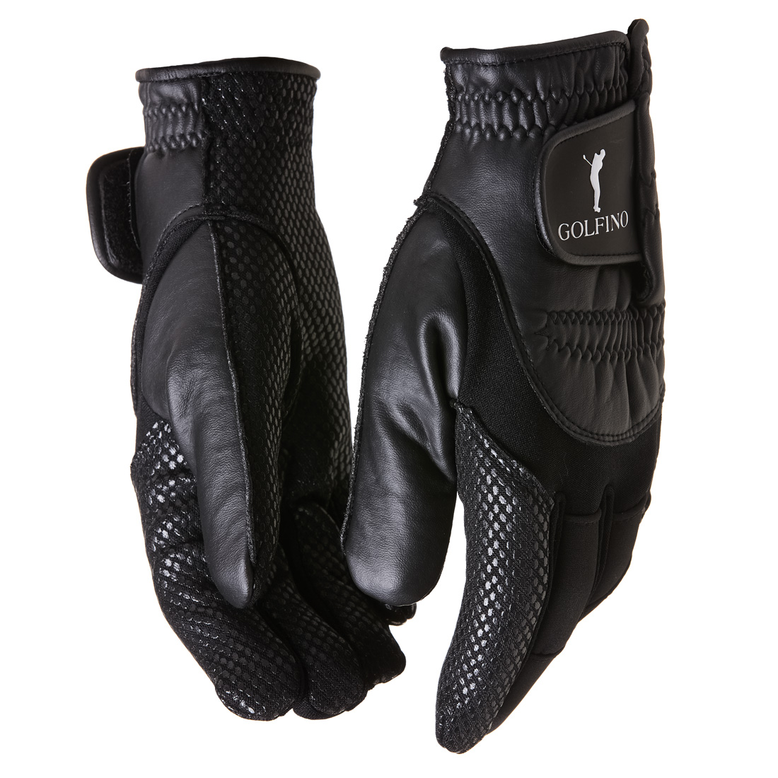 Herren Golfhandschuhe in Lederoptik mit Klettverschlüssen