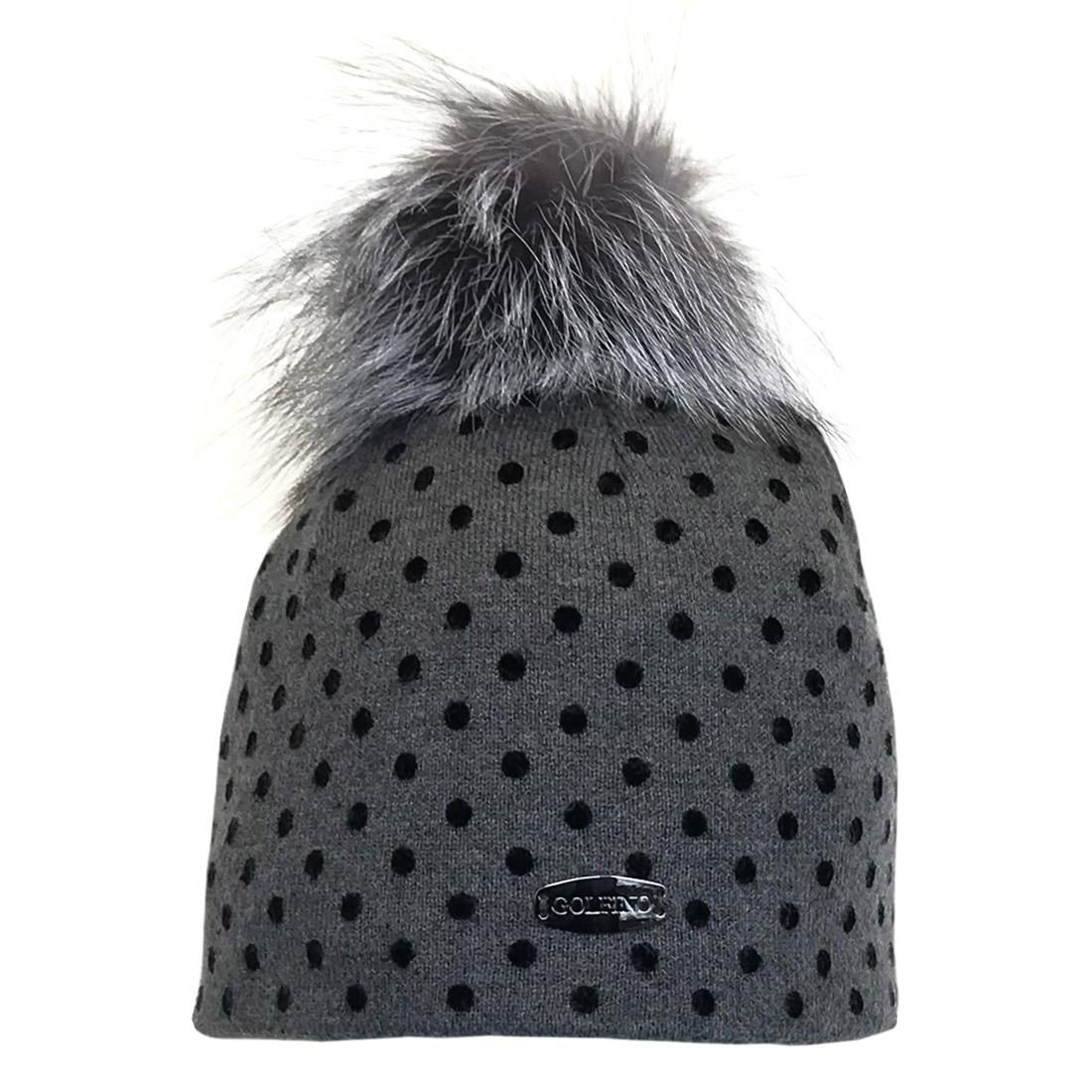 Cold Protection Golf Mütze mit aktuellem Flockprint und Kunstfell Pompon in Onesize