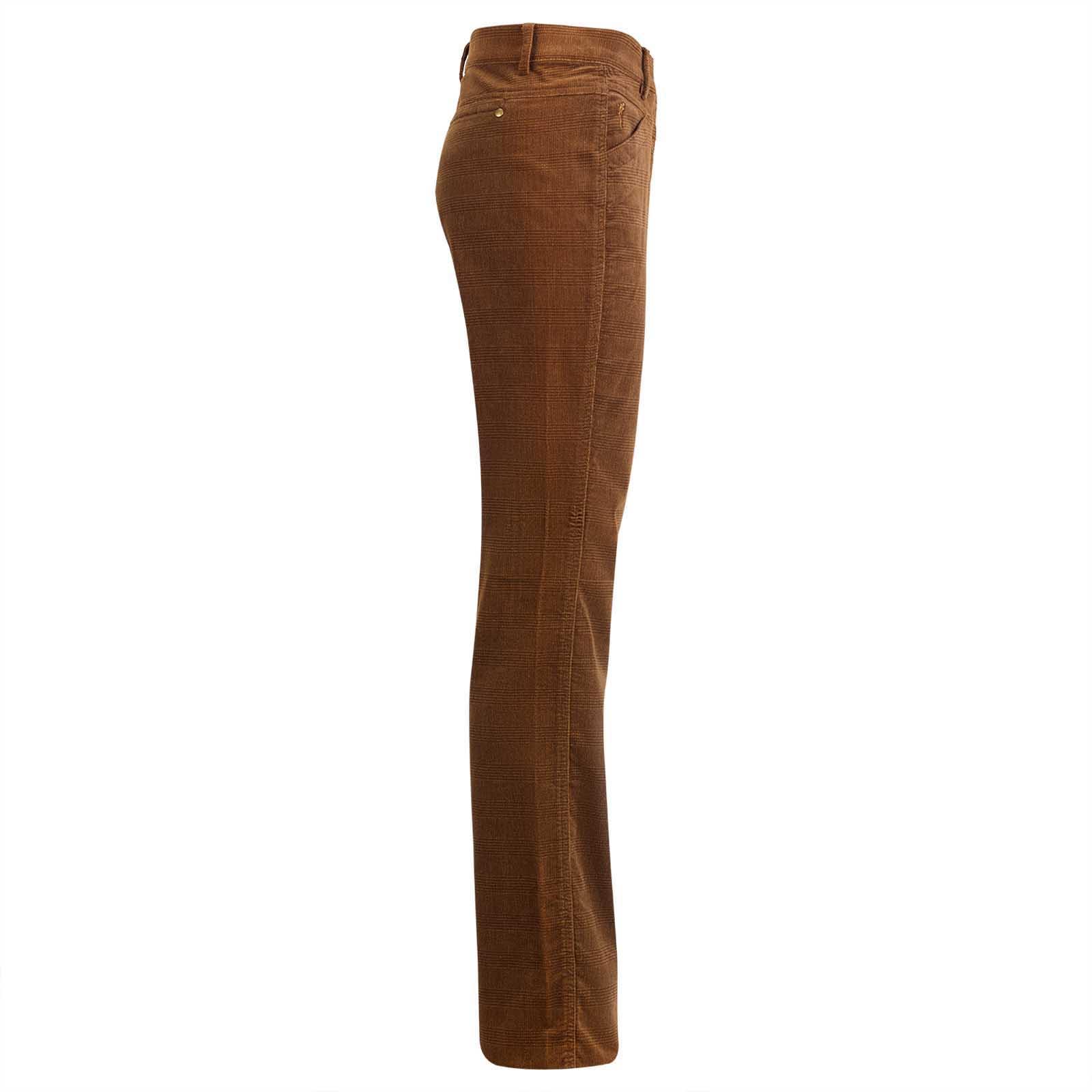 Gerade geschnittene Damenhose aus hochwertigem Stretch-Samt in Karo-Optik