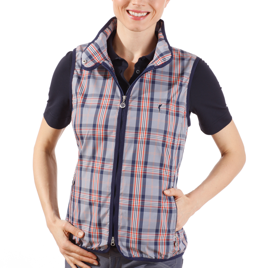 Checked single layer micro waistcoat