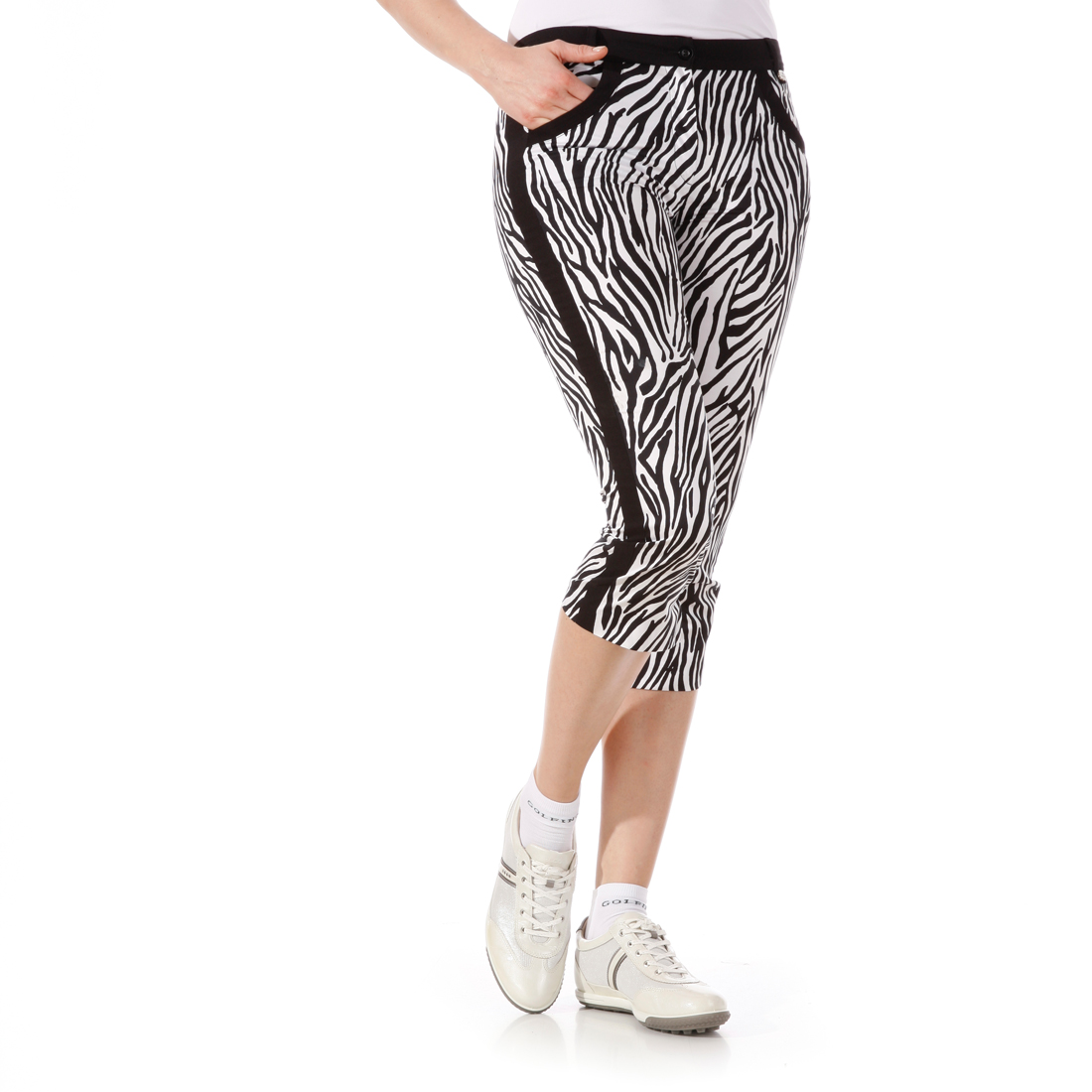 Stretch-Caprihose mit Zebraprint