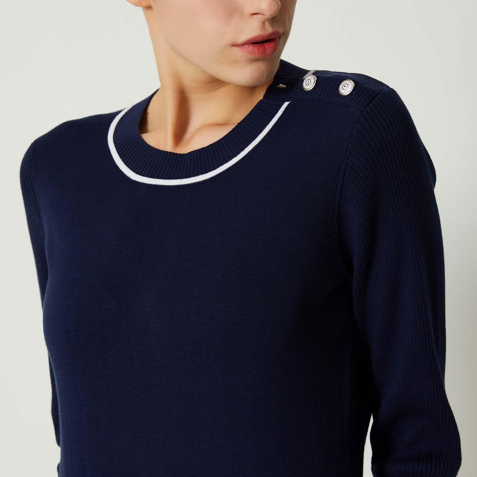 Damen Pullover mit Kontraststreifen