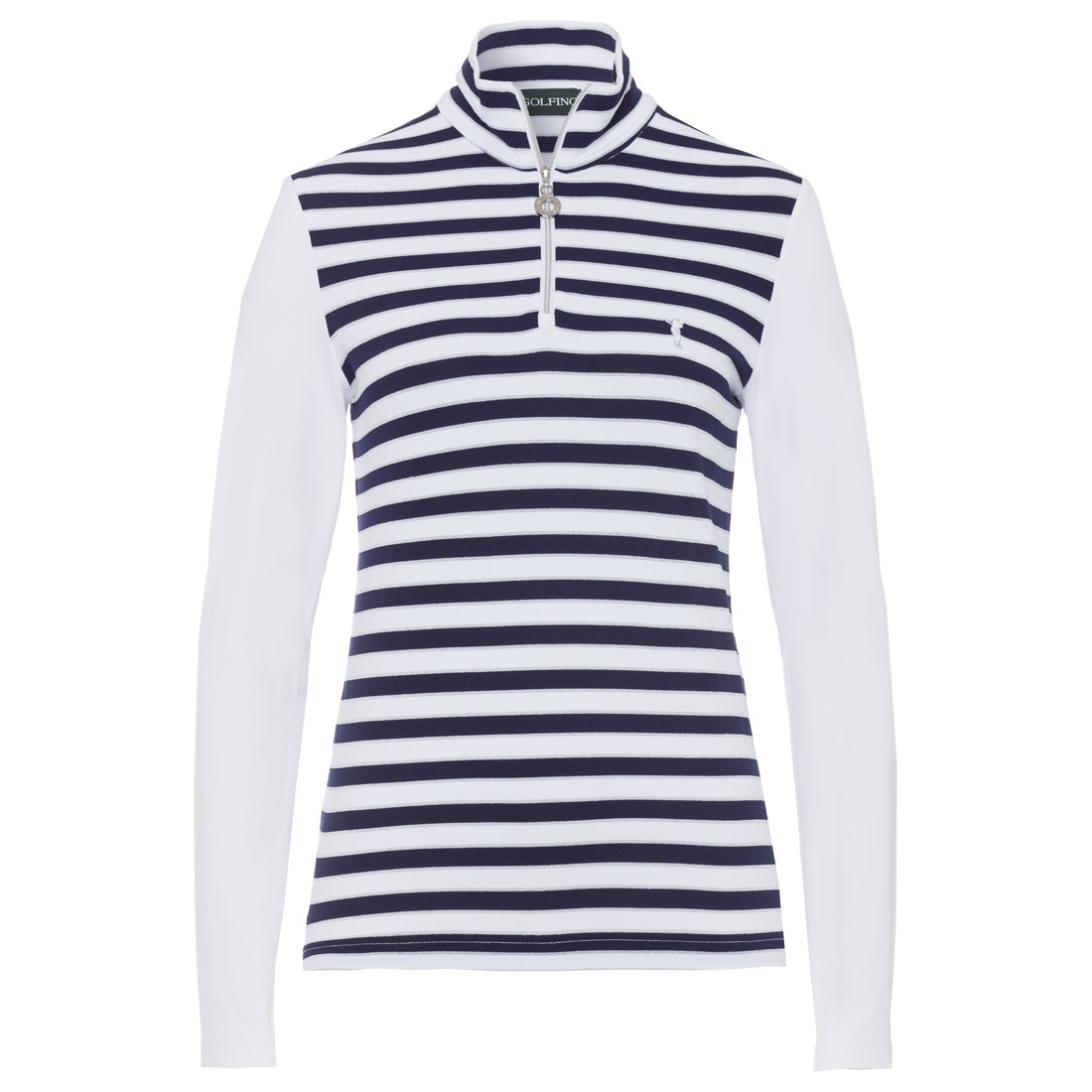Ladies' striped pattern half-zip