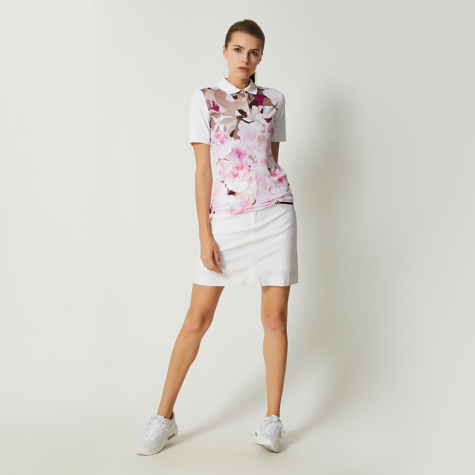 Damen Polo mit Blumenmuster