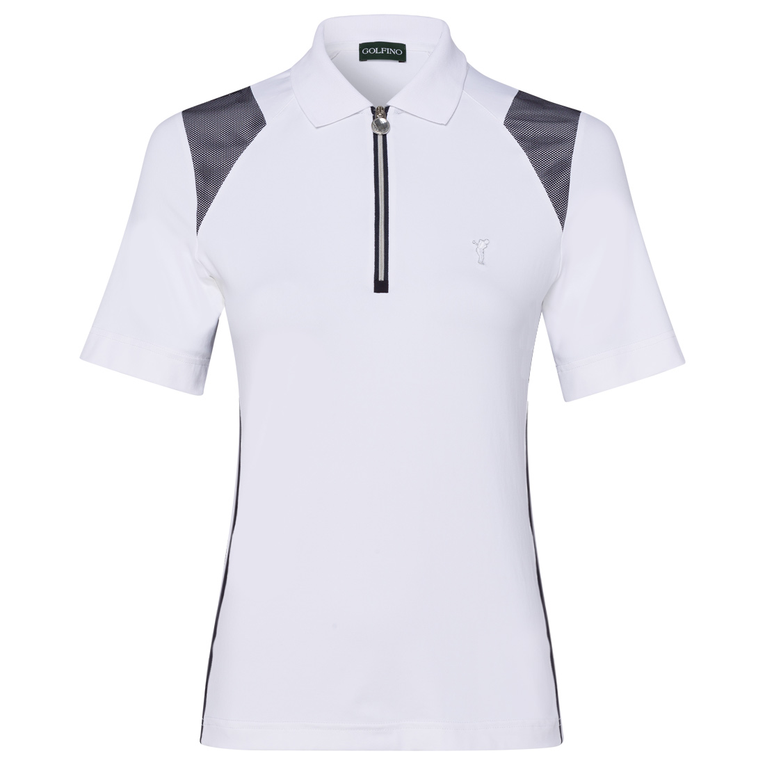 Ladies' polo with mesh inserts