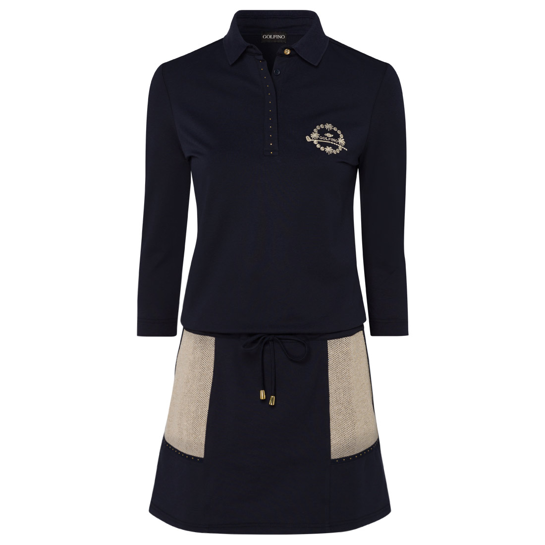 Ladies' short-sleeved golf dress in UV piqué material with skort