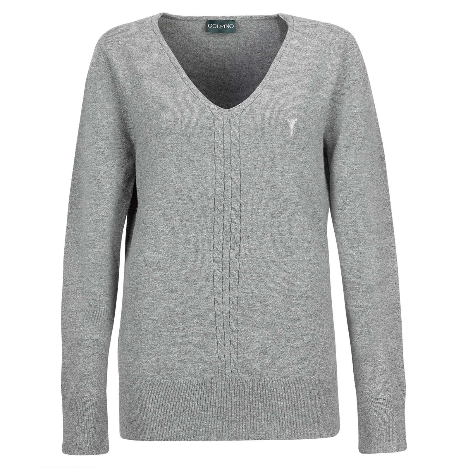 Ladies' cable-knit v-neck pullover