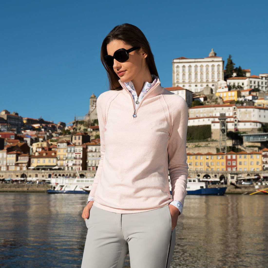 Knitted cotton/cashmere troyer with Cold Protection