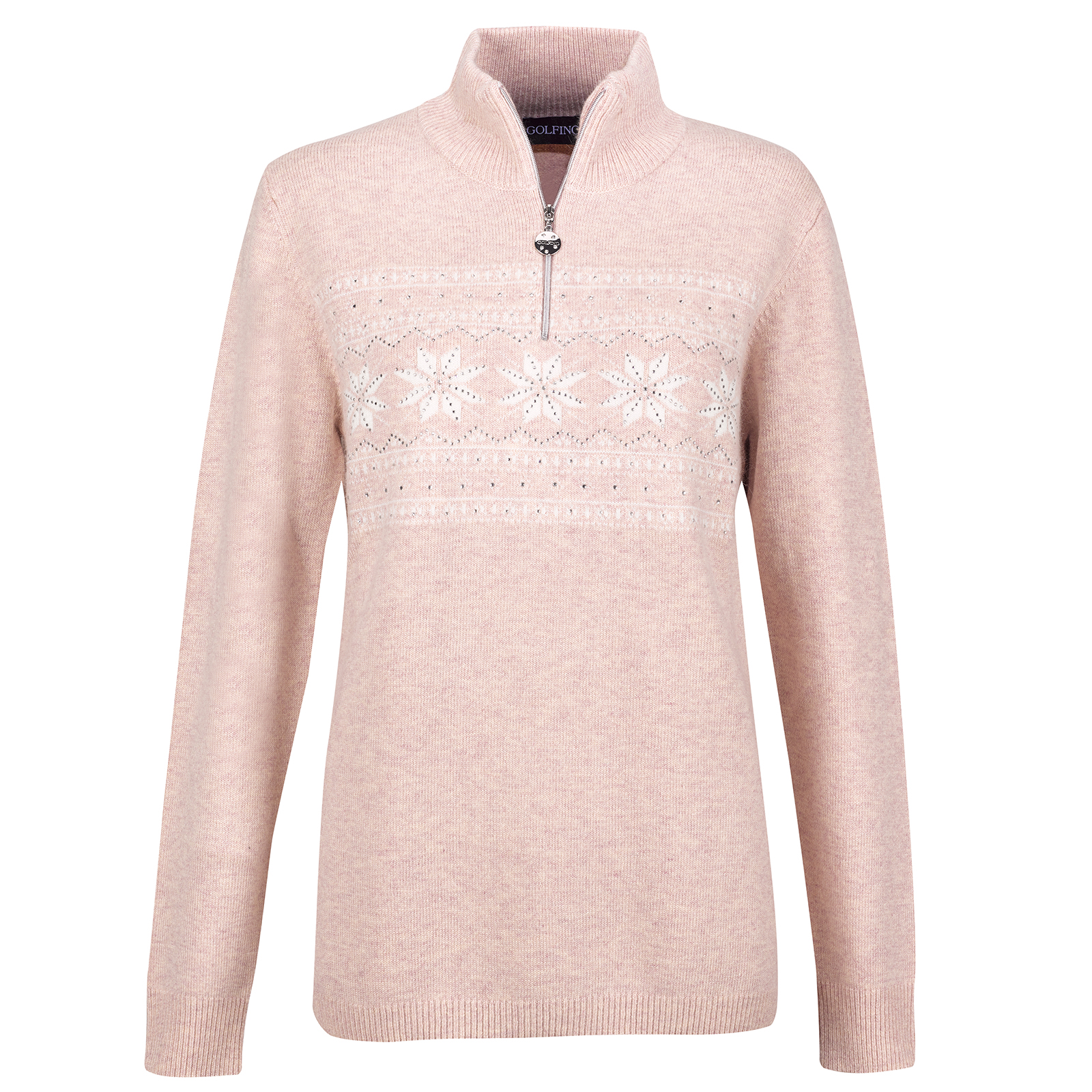 Ladies' luxury winter knitted pullover with Angora and crystals