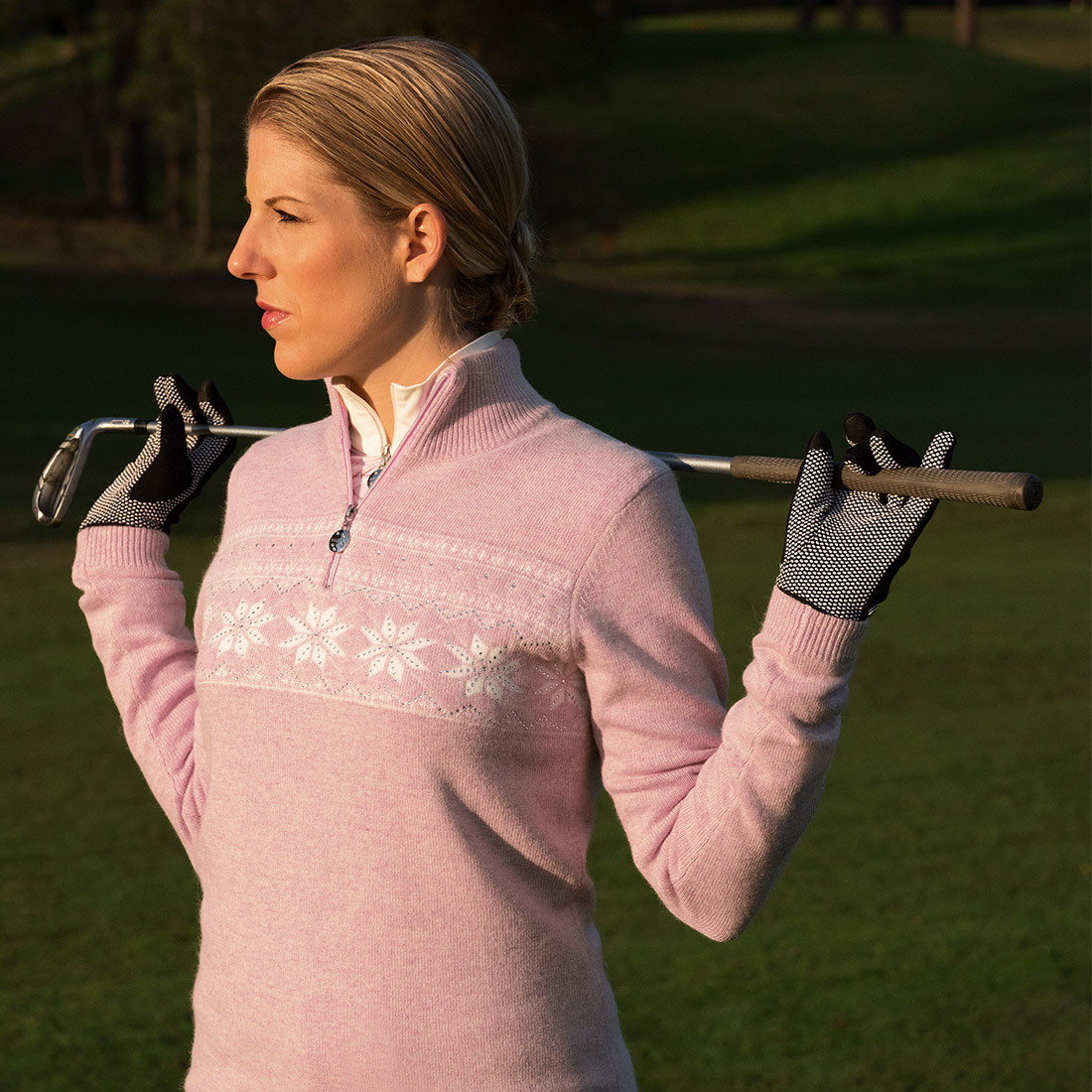 Damen Luxus Winter-Strickpullover mit Angora und Kristallbesatz