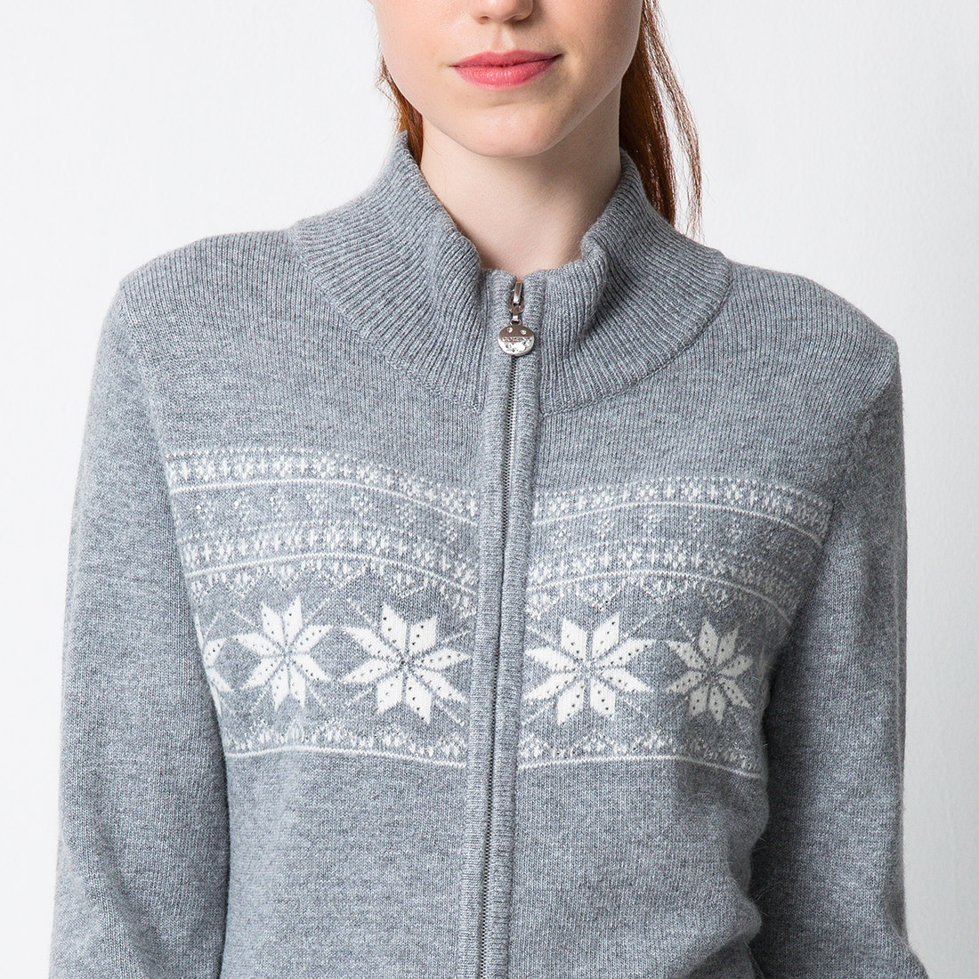 Damen Luxus Winter-Cardigan mit Angora und Kristallbesatz