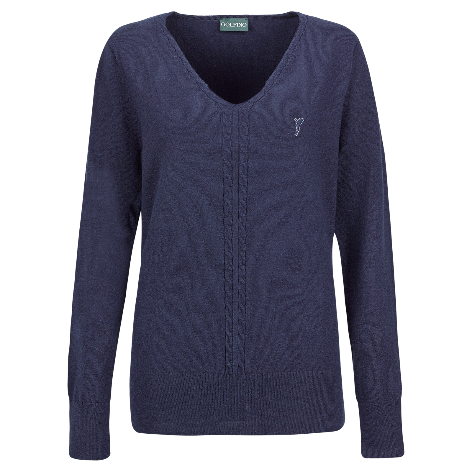 Ladies' cable-knit cotton/wool V-neck pullover with Cold Protection