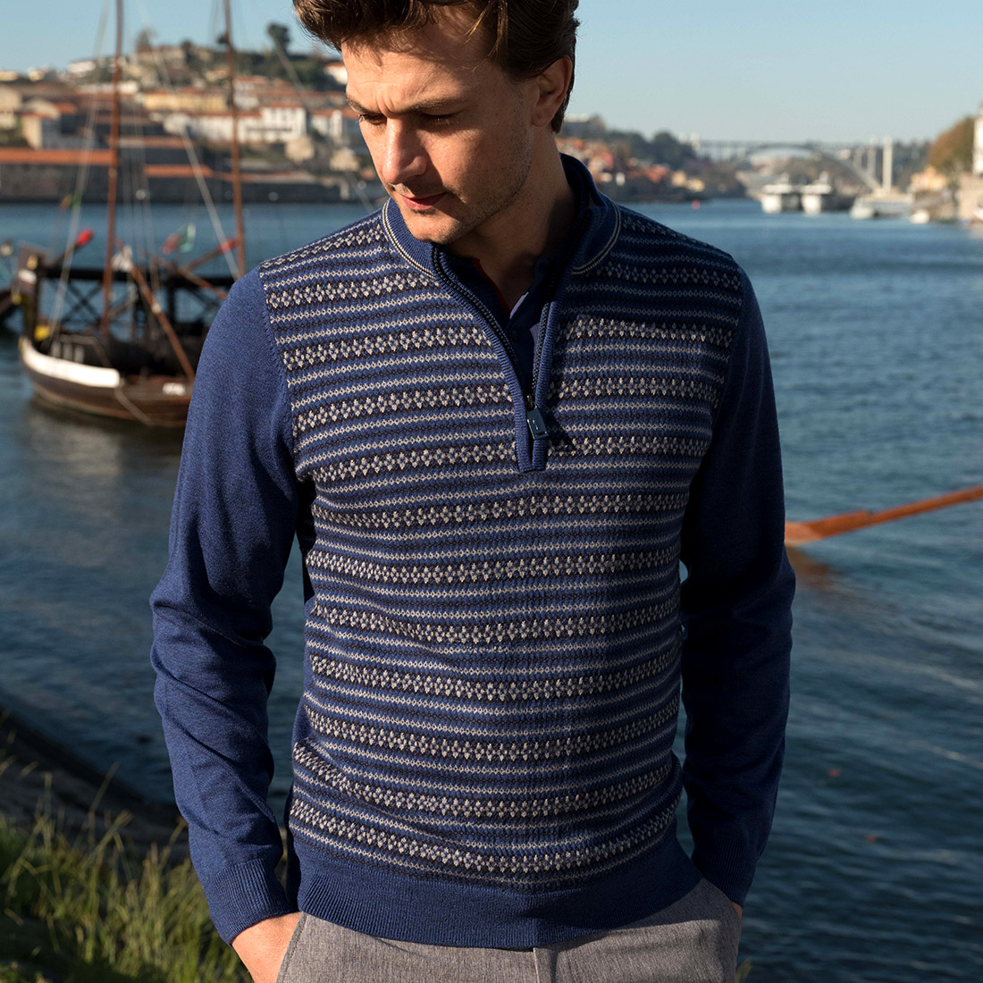 Men's Jacquard troyer made from pure Merino wool