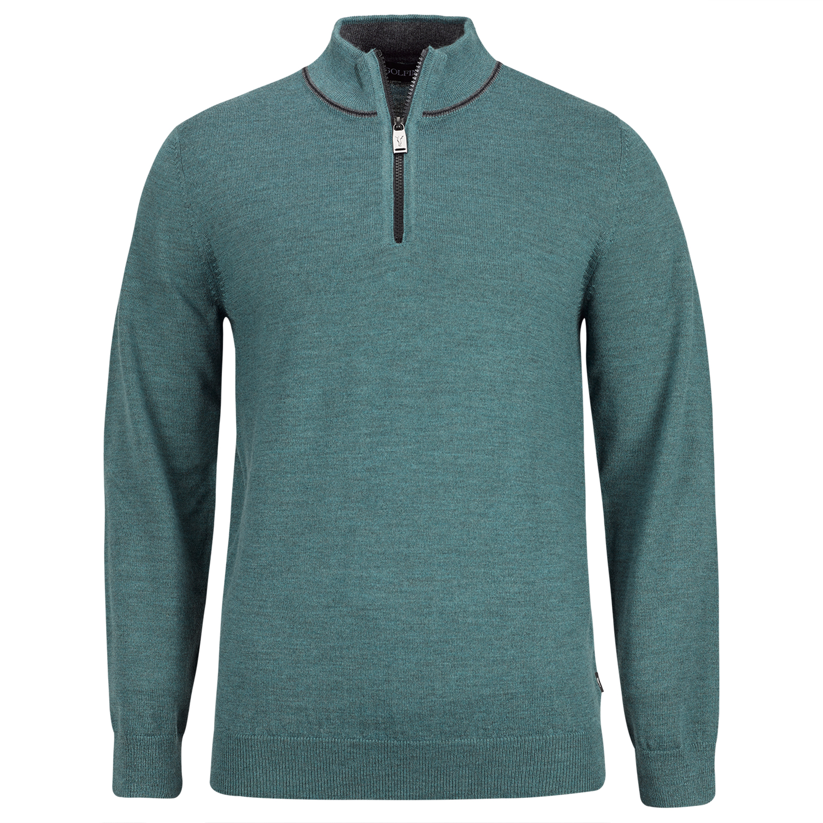 Merino Herren Golftroyer mit kurzem Zip in Regular Fit