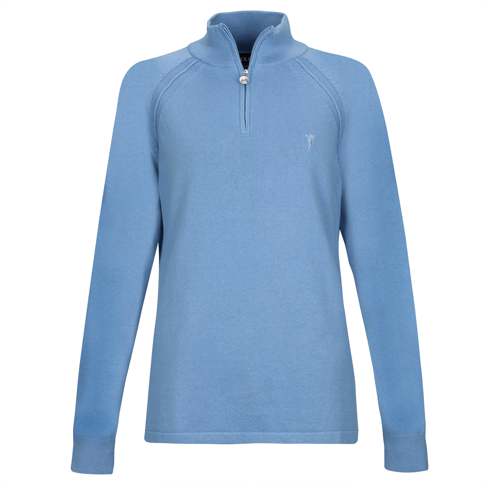 Ladies' cotton / cashmir pullover with short zip