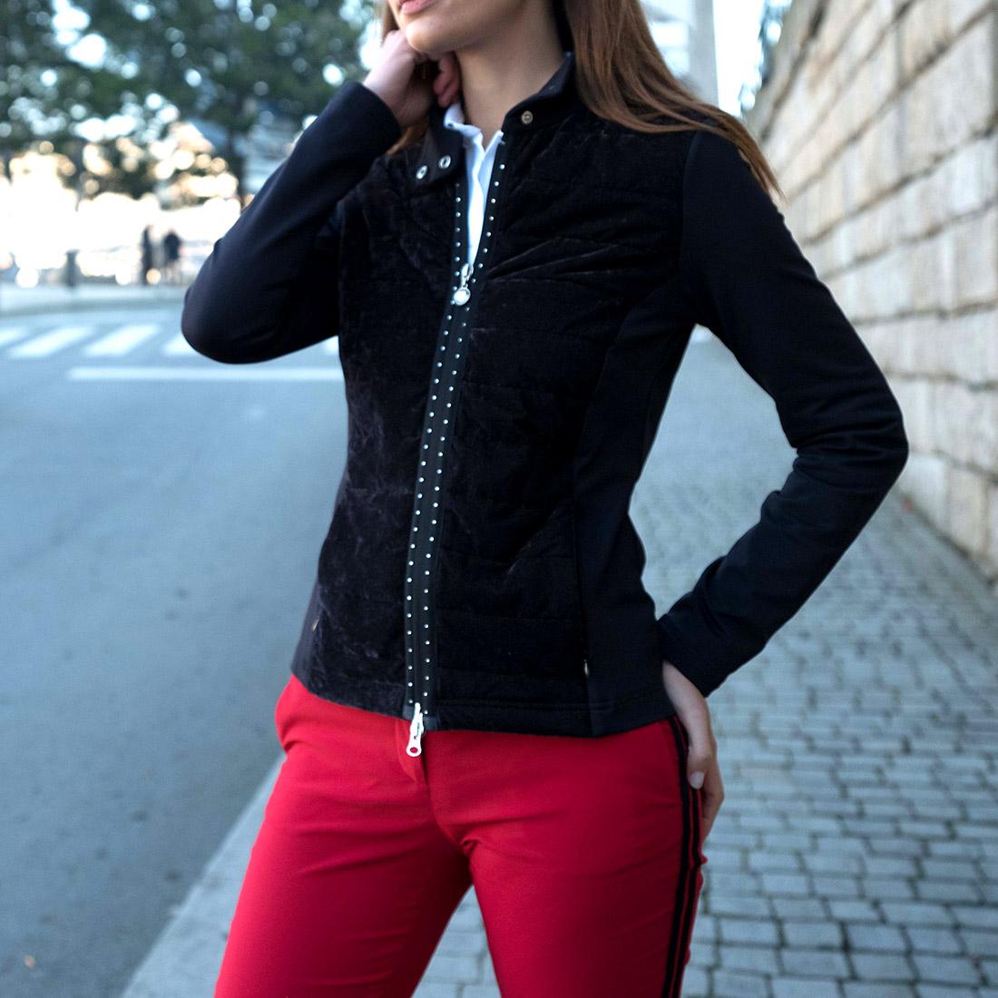 Damen Midlayer Stretch Golfjacke mit gestepptem Vorderteil und Strassbesatz