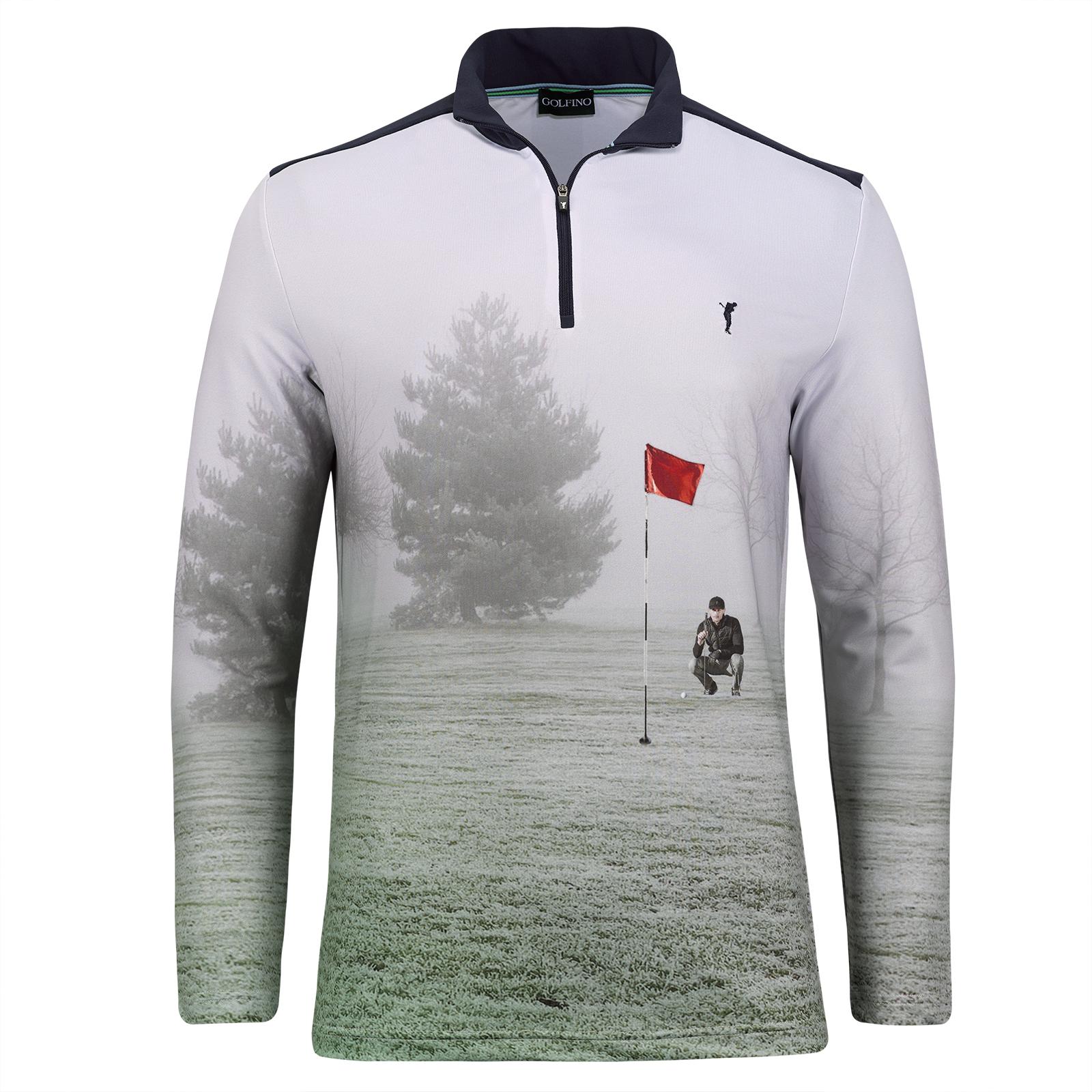 Herren Golf Funktionstroyer mit Moisture Management und modischem Allover-Print