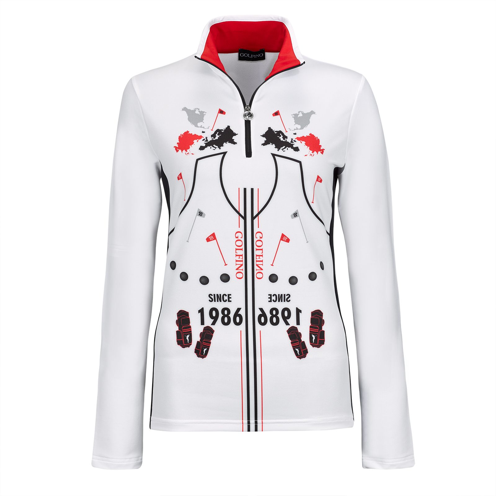 Long-sleeve Ladies' printed golf troyer with Moisture Management in slim fit