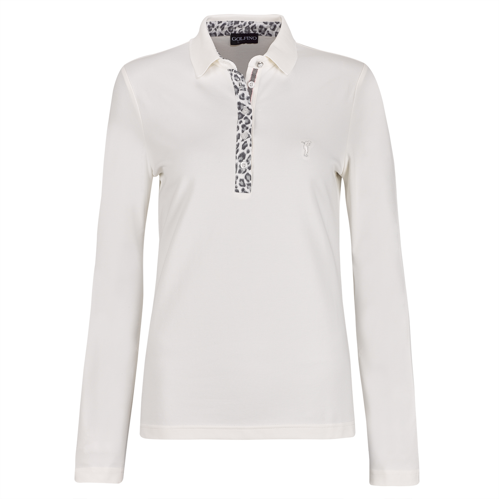 Ladies' long-sleeve polo with leopard print, Moisture management and Sun Protection functions