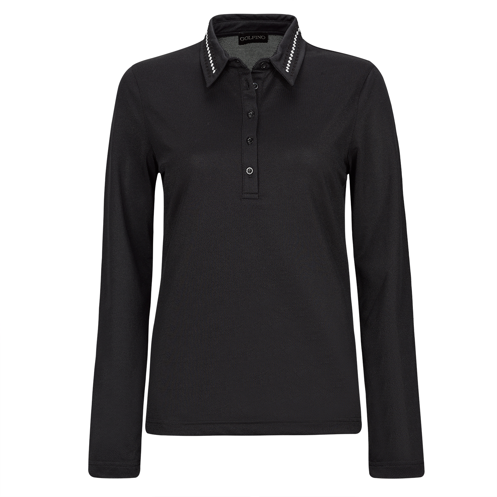 Damen Stretch-Golfpolohemd mit Moisture-Management und Pailletten-Besatz