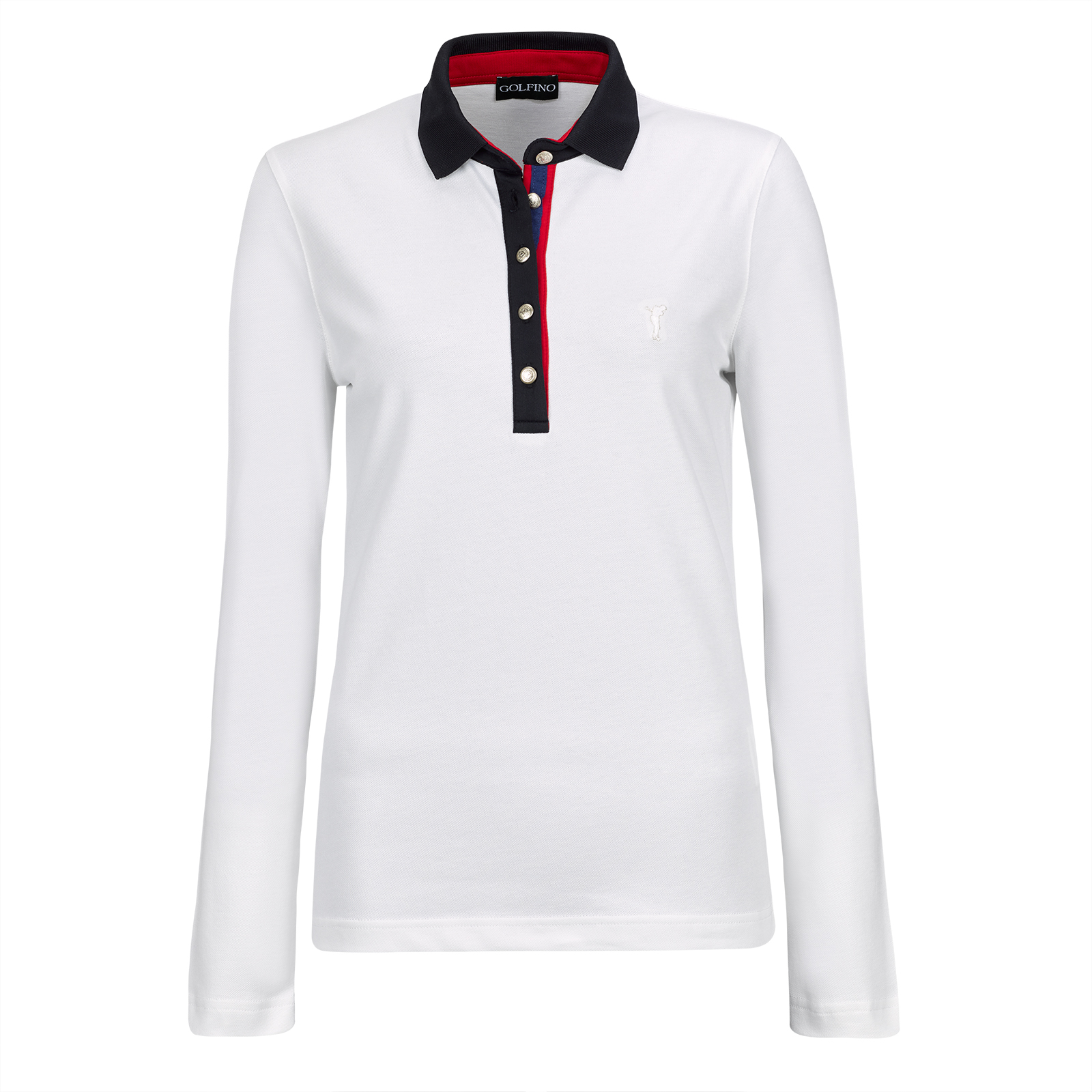Long-sleeve Ladies' stretch polo from luxurious cotton blend in slim fit