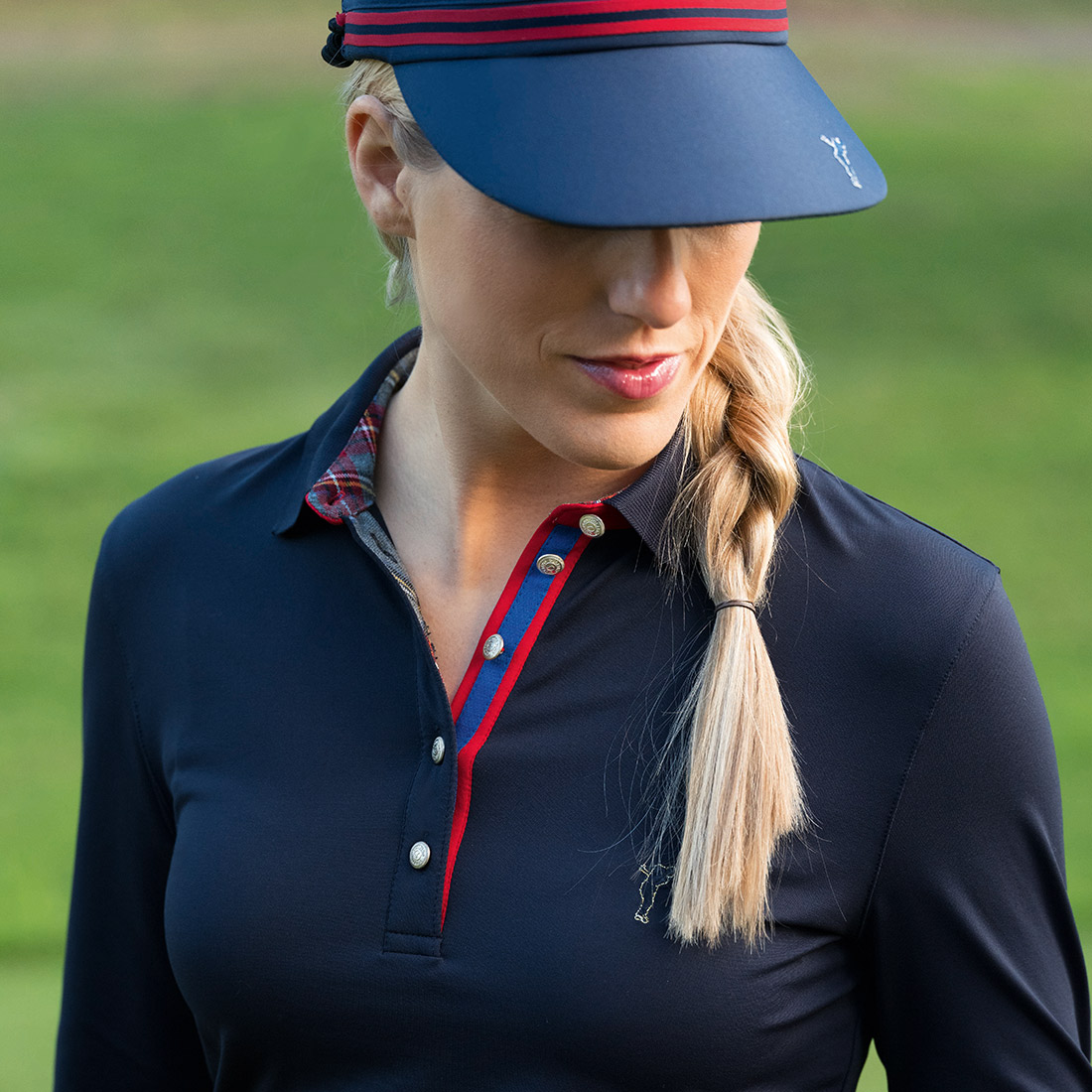 3/4-sleeve ladies' functional polo with Moisture Management in slim fit