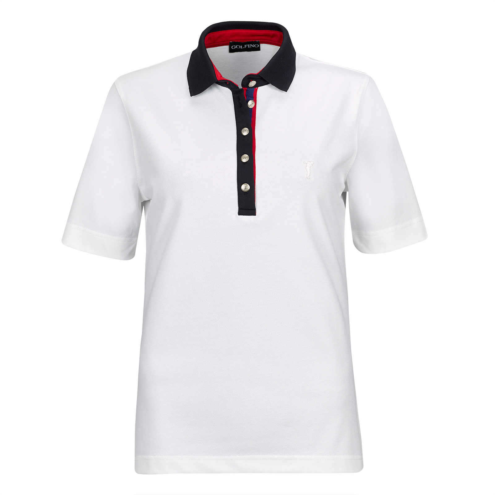 Short-sleeve ladies' cotton golf polo from luxurious stretch material in slim fit