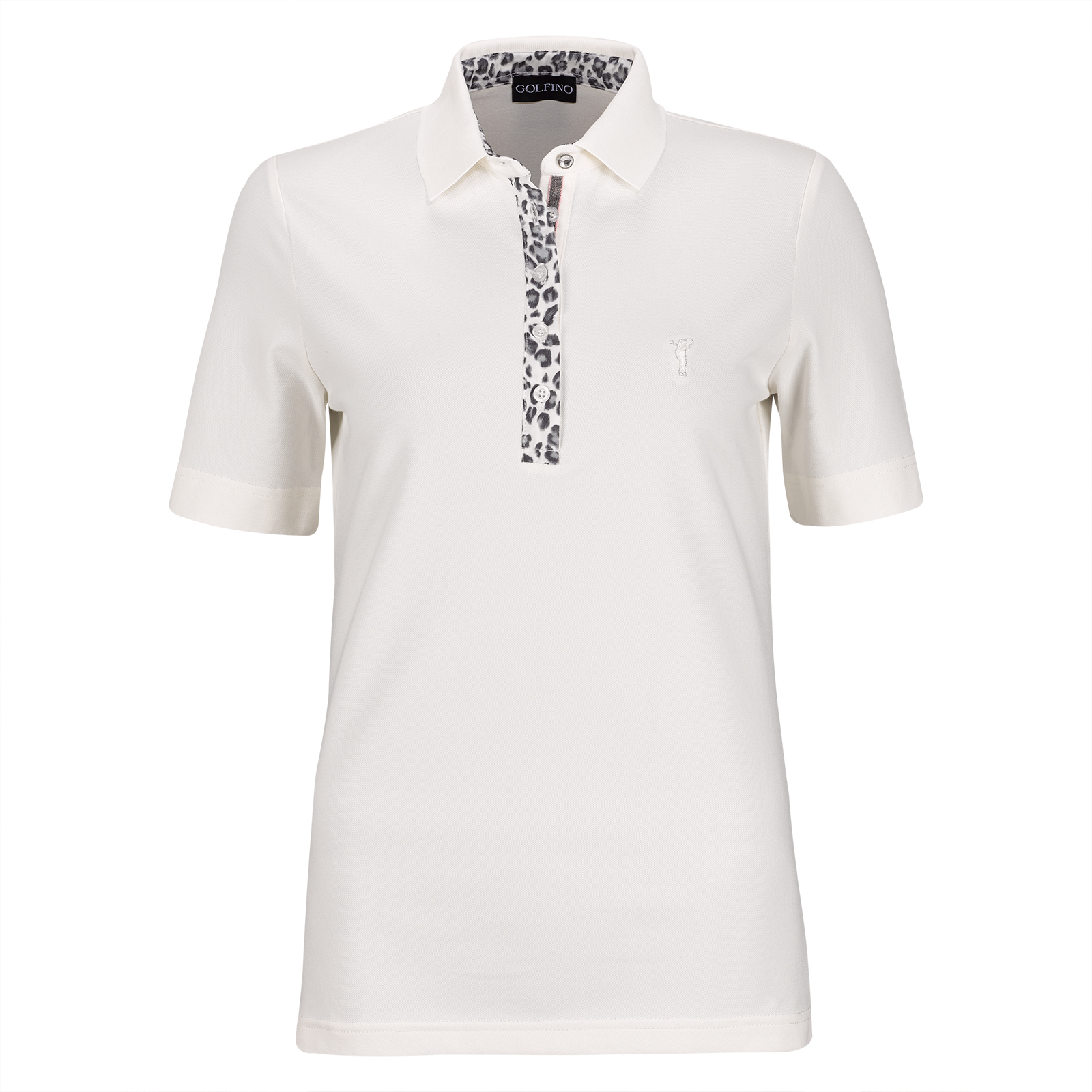 63f516c4fc41 GOLFINO Ladies short-sleeve functional polo with stylish leopard print and  UV protection function shop online