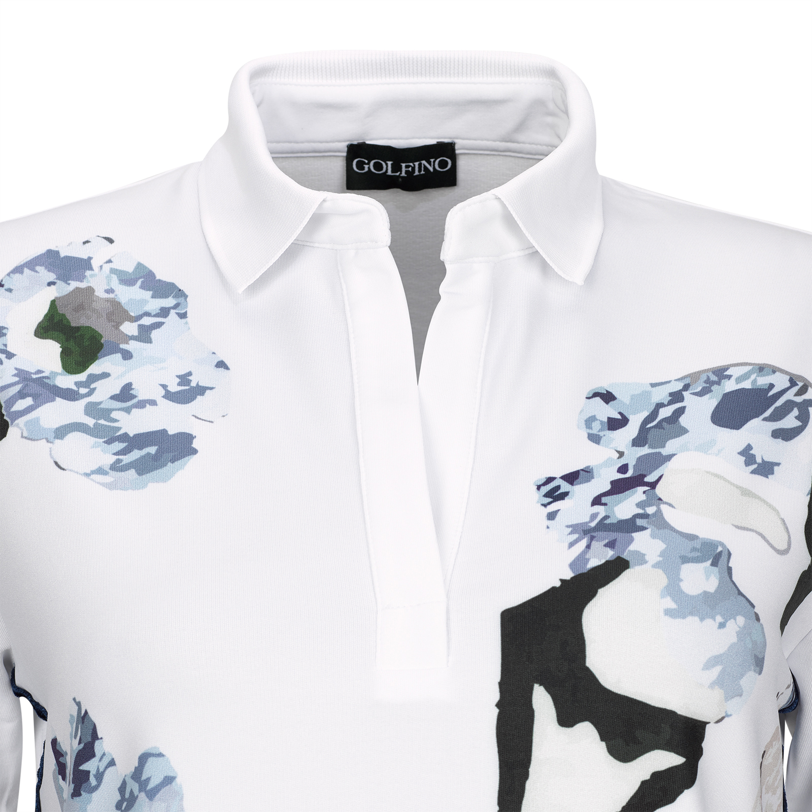 Damen Halbarm Techno-Stretch Funktions-Golfpolohemd mit floralem Print