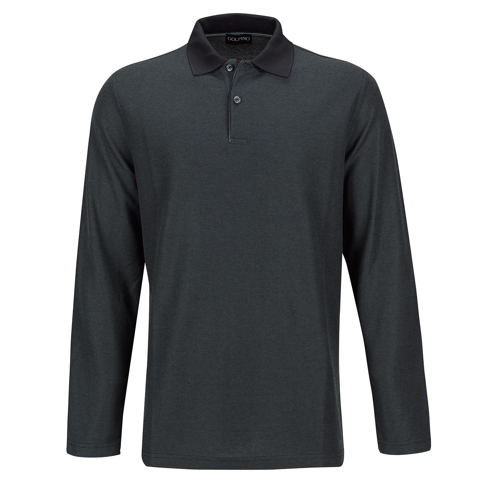 Silver Protection Herren Langarm Golfpolo mit Moisture Management in Regular Fit