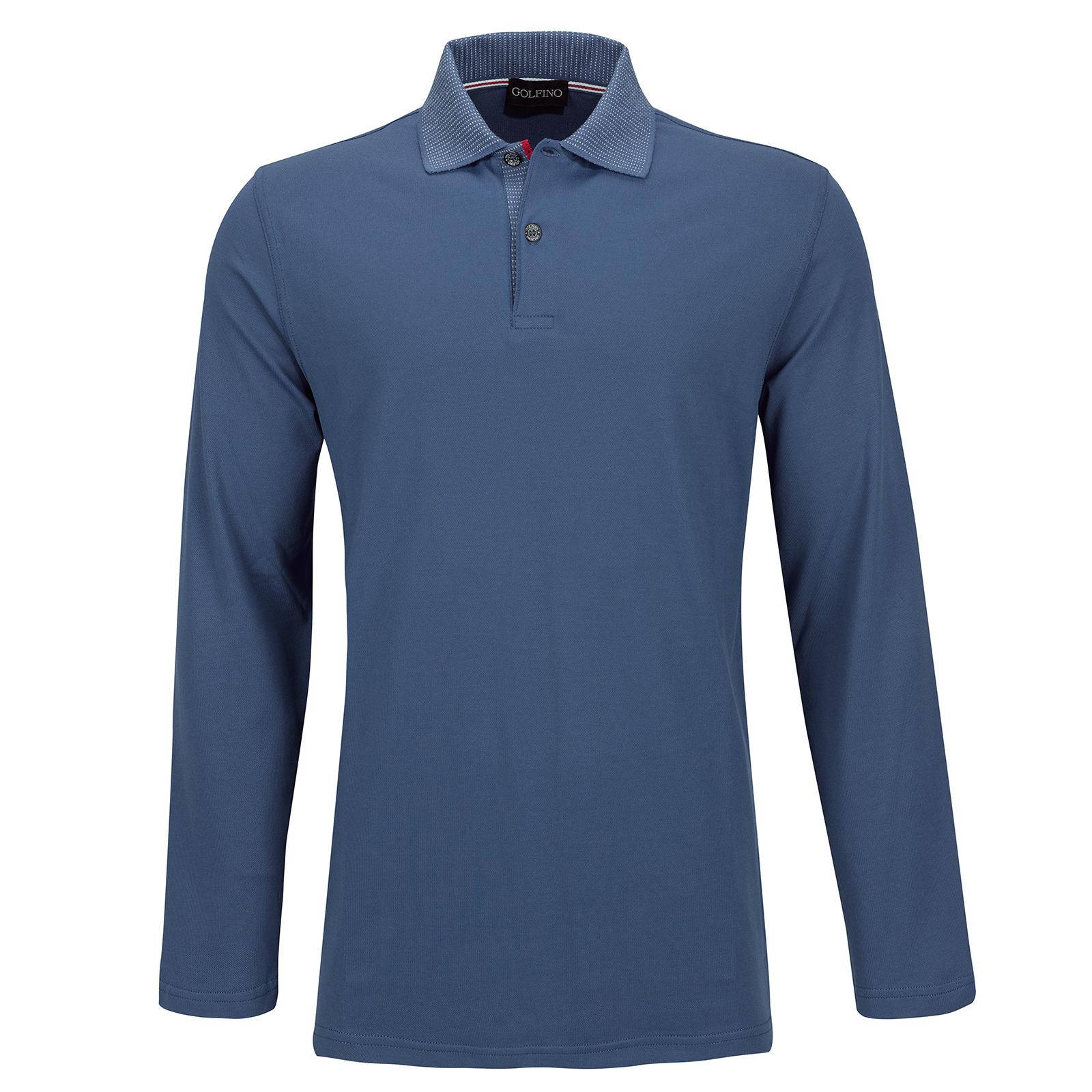 Herren Langarm Stretch-Golfpolohemd mit Sun Protection