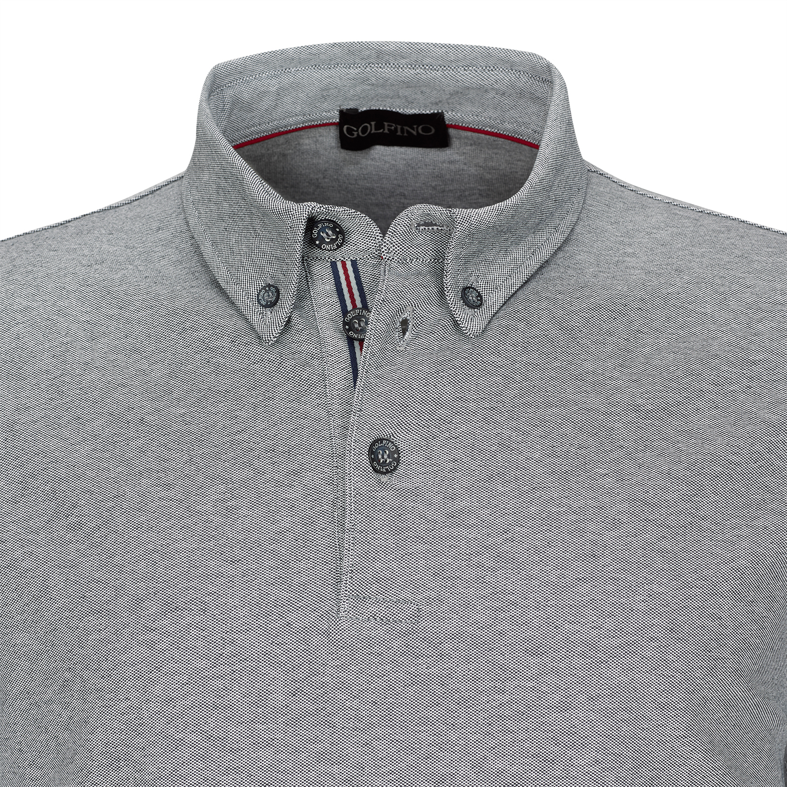 Herren Langarm Stretch-Golfpolo mit Sun Protection und Button Down Kragen