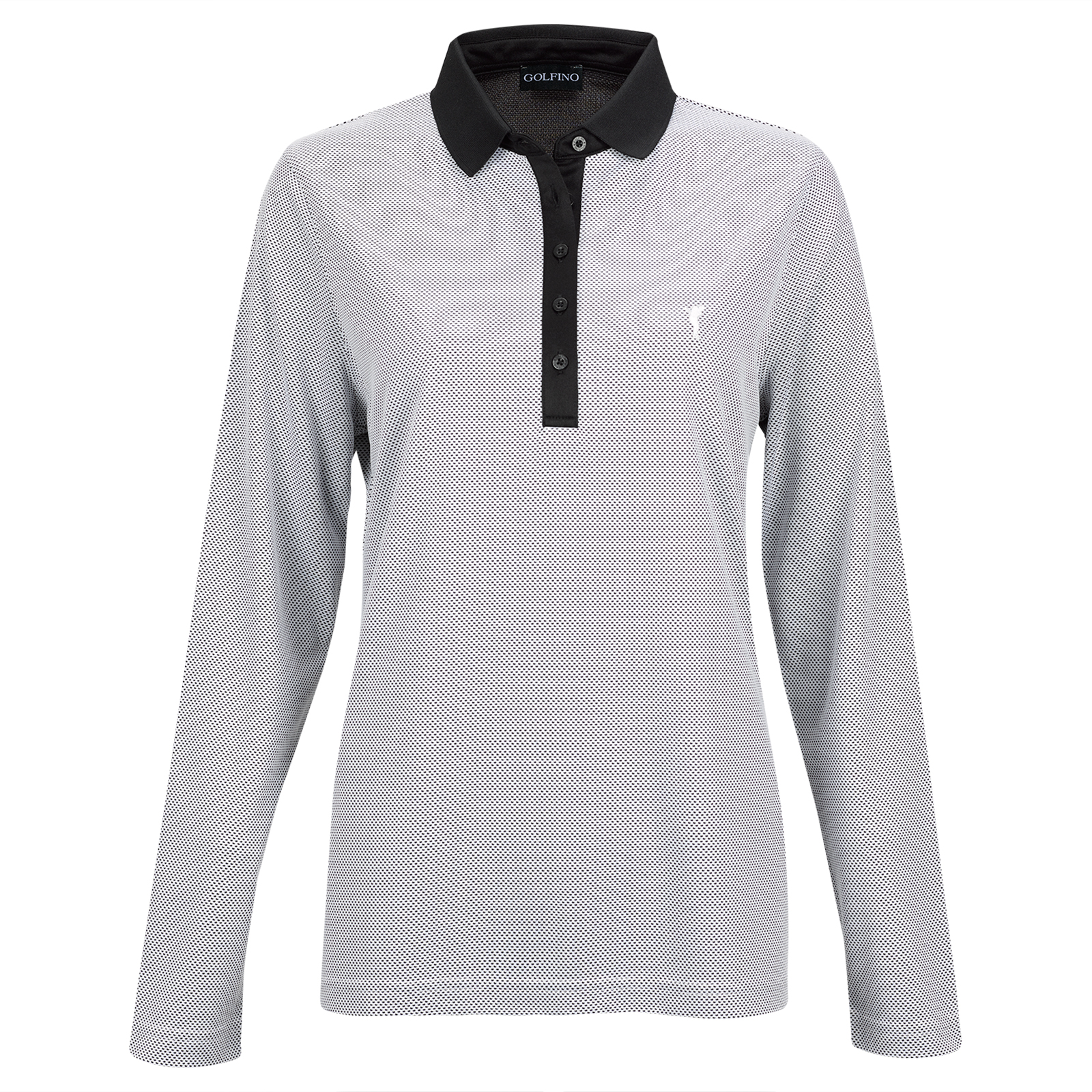 Techno Bubble Jaquard Damen Langarm Funktions-Golfpolo Quick Dry
